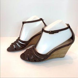 J.Jill Brown Stacked Heel Sandals
